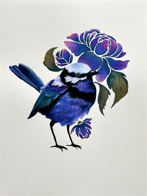 wren tattoo designs the blue wren original acrylic painting on watercolor
