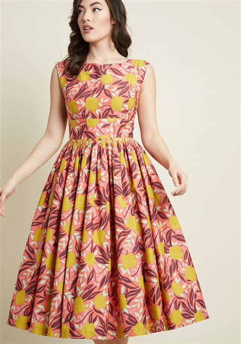 Flower Printed Puffball Skirt For A Summer Garden by Floral Dresses Floral Print Dresses Modcloth