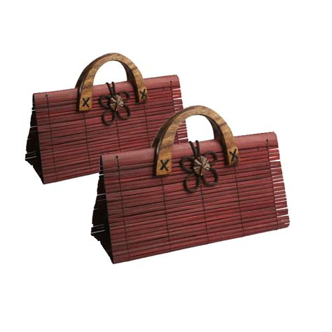 Krolle Wooden Handled Handbag by Brown Bamboo Handbag With Wooden Handle From Chiang Mai