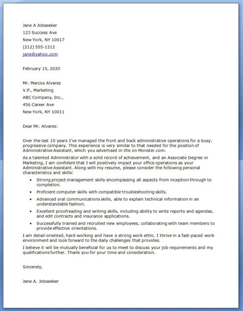 cover letter for an executive assistant administrative assistant bar letters ideas just b