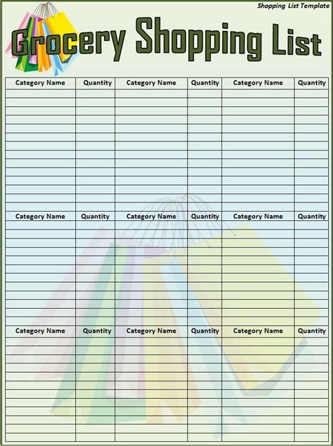 shopping list template download page word excel pdf