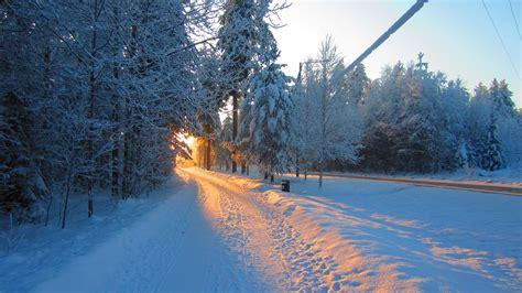 landscape snow road sun sunlight wallpapers hd