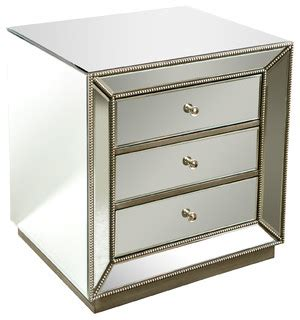 Modern Mirrored Nightstands Shop Houzz Statements By J Mie Studded Mirrored Nightstand Nightstands And Bedside Tables