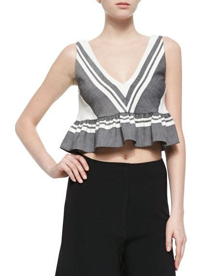 Ruffled Striped Top elizabeth analinne striped ruffled crop top