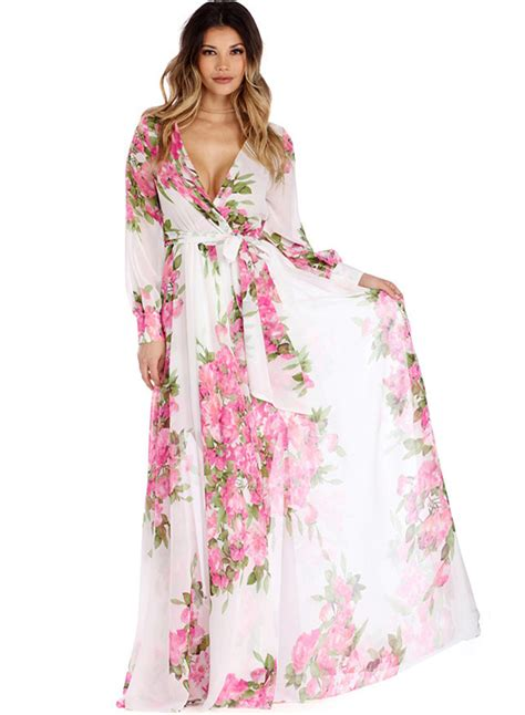 Tie Waist Sleeve Dress s fashion floral v neck sleeve tie waist maxi