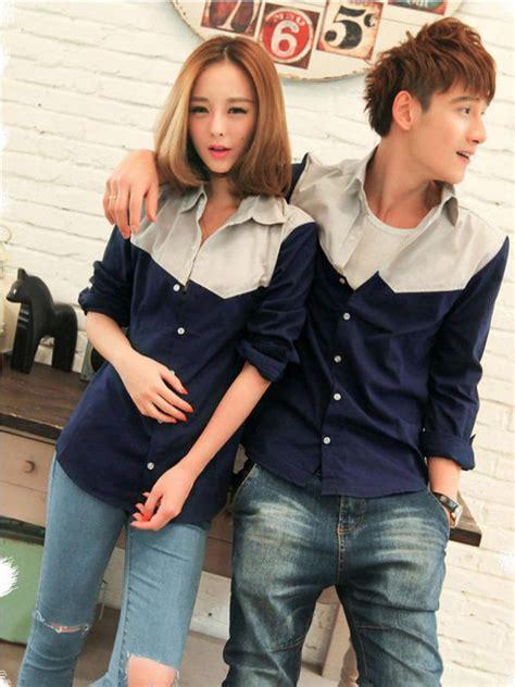 Kemeja Denim Bordir Opps Trendy Lengan Panjang evolu color block shirt coupleshirt shirt colorblockshirt