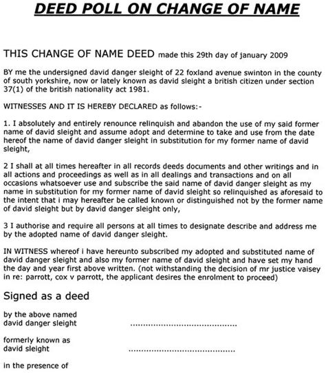 Brit Does A Deed by How To Legally Change Your Name For Free In Uk All