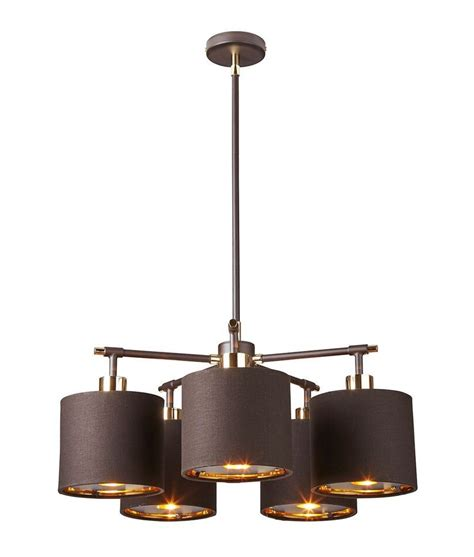 Modern 5 Light Chandelier Modern 5 Arm Chandelier In White And Silver Or Brown And Gold