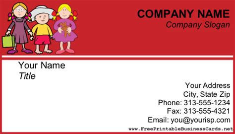 Free Childcare Business Card Templates by Child Care Business Card