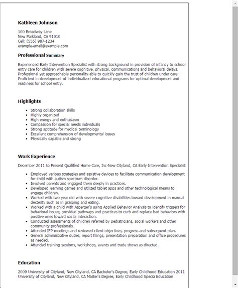 Behavior Intervention Specialist Sle Resume by Professional Early Intervention Specialist Templates To Showcase Your Talent Myperfectresume