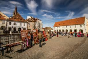 Small square in sibiu romania is the home of former guild halls now