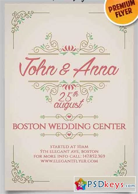 Vintage Wedding Invitation Flyer Psd Template Facebook Cover 187 Free Download Photoshop Vector Wedding Invitation Flyer Template
