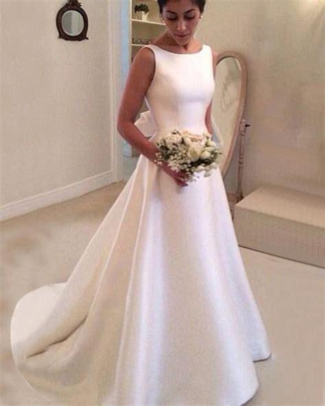 simple elegant boat neck satin   bridal dress women