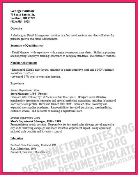 retail manager sle resume resume objective for retail bio letter format