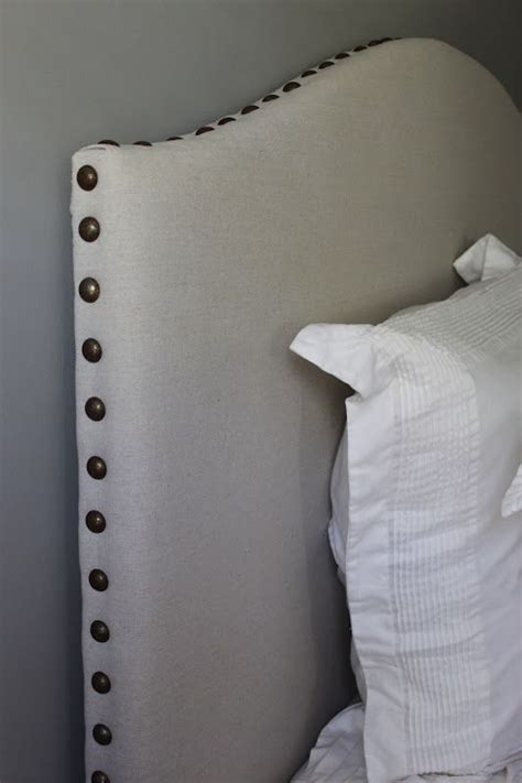 diy drop cloth nailhead trim upholstered headboard tutorial