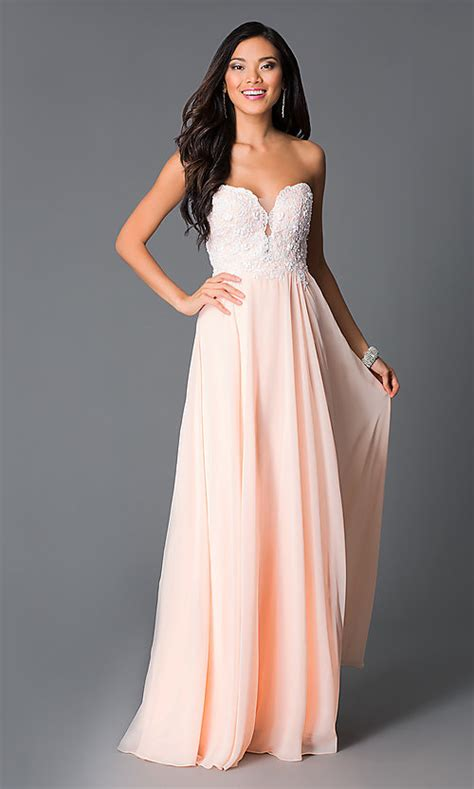 peach chiffon strapless corset prom dress promgirl