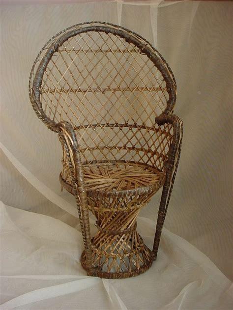 vintage wicker chair vintage wicker rattan fan back chair for doll or teddy
