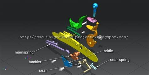 Blueprints Maker cad designs by ivan flintlock mechanism 3d model free