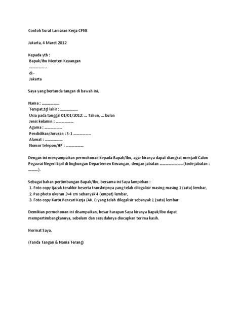Contoh Surat Lamaran Kerja Bpn Non Pns - Contoh Seputar Surat