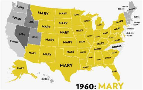 usa map by year most common names for 50 years arranged by us states