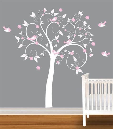 nursery vinyl wall decals flowers bird curl tree trees nursery decals wall sticker vinyl wall decal