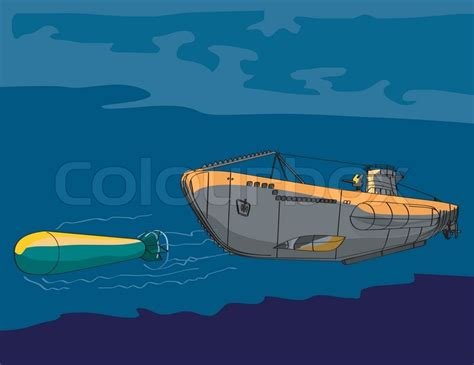 cartoon u boat world war two submarine u boat stock vector colourbox