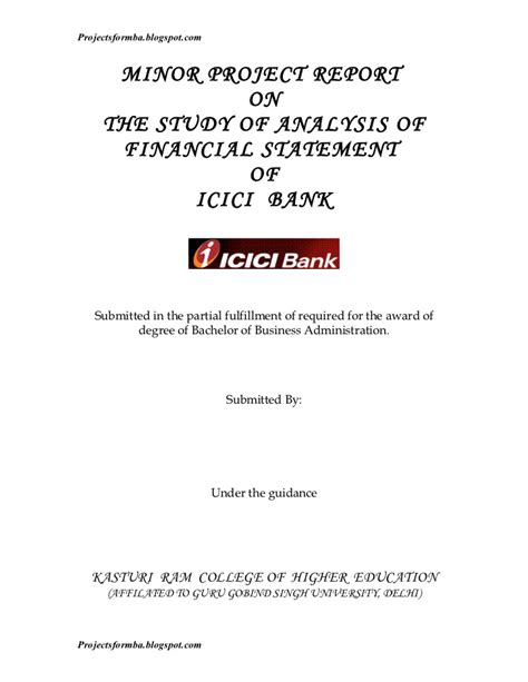 icici bank report a project report on analysis of financial statement of