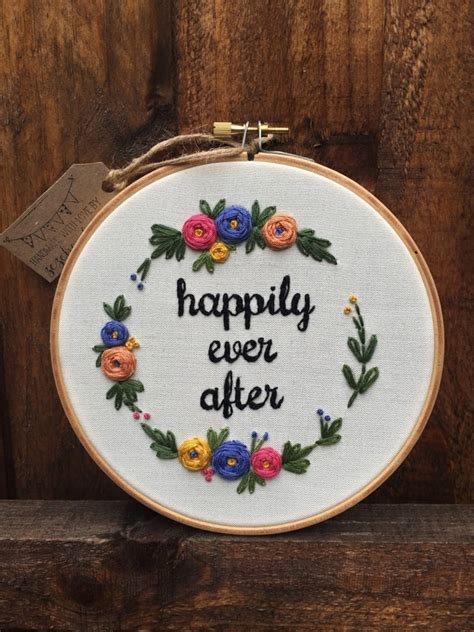 embroidery wedding happily after embroidery hoop 40 wedding