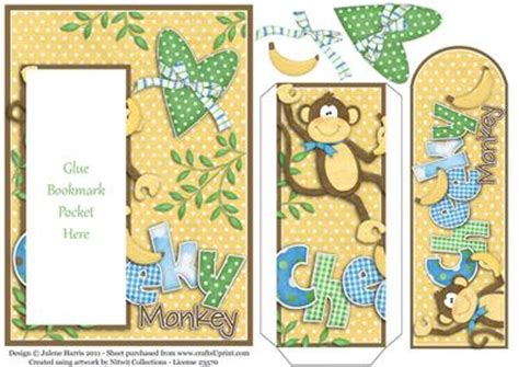 printable monkey bookmarks cheeky monkey bookmark pocket card cup177446 499