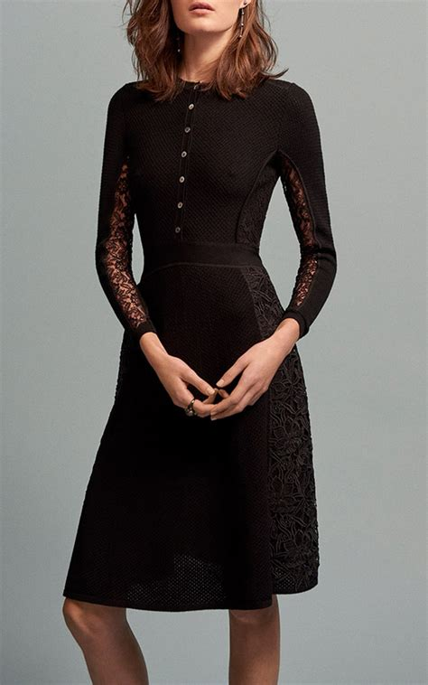 27344 Knit Lace Sleeve Dress oscar de la renta lace knit sleeve dress in black lyst