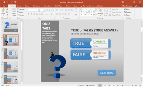 Create A Quiz In Powerpoint With Quiz Tabs Powerpoint Template Powerpoint Trivia Template
