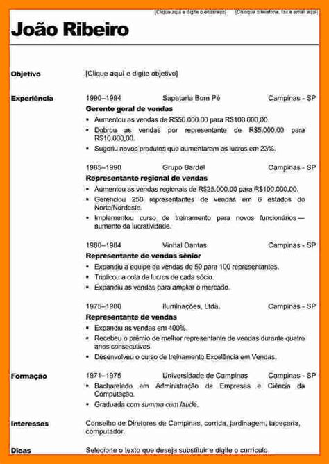 Modelo Curriculum Vitae Doc Word 4 Curriculum Modelo 2017 Resume Sections