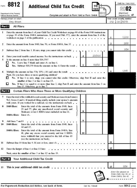 Form 8812 Worksheet by Your Federal Income Tax