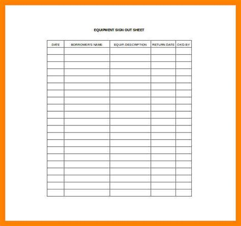 sign out sheet template tools sign out sheet template