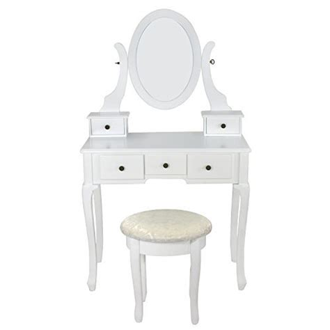 White Vanity Table Set Jewelry Armoire Makeup Desk Bench Drawer by White Vanity Table Set Jewelry Armoire Makeup Desk Bench