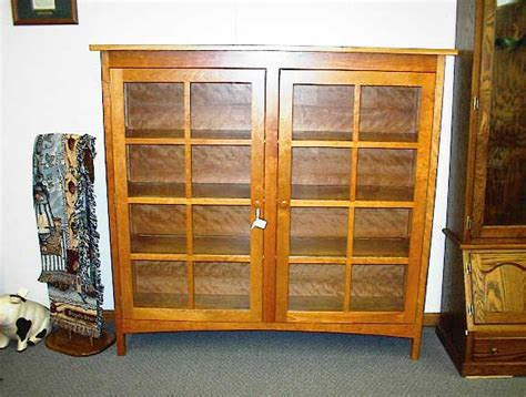 Cherry Bookcase With Glass Doors Woodloft Locally Amish Custom Crafted Bookcases