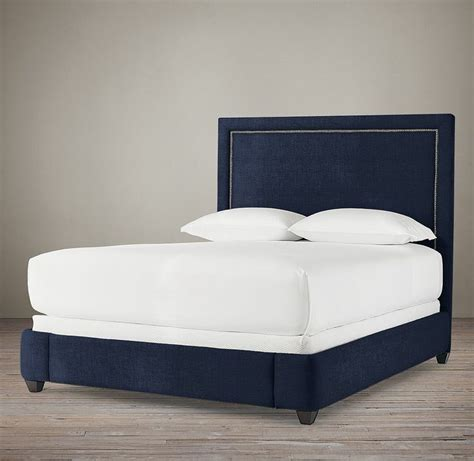 navy blue upholstered bed wallace upholstered 68 quot bed without nailheads blue room