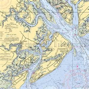 map of hton south carolina bluffton nautical chart decor