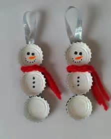bottle cap snowmen diy christmas craft