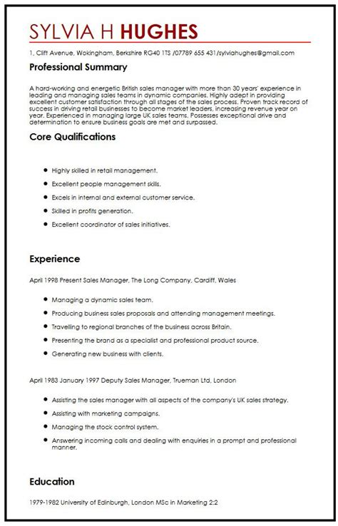 Sle Of Uk Resume Cv Sle Myperfectcv