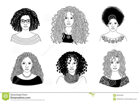 curly hair vector tutorial young women with different types of curly hair stock