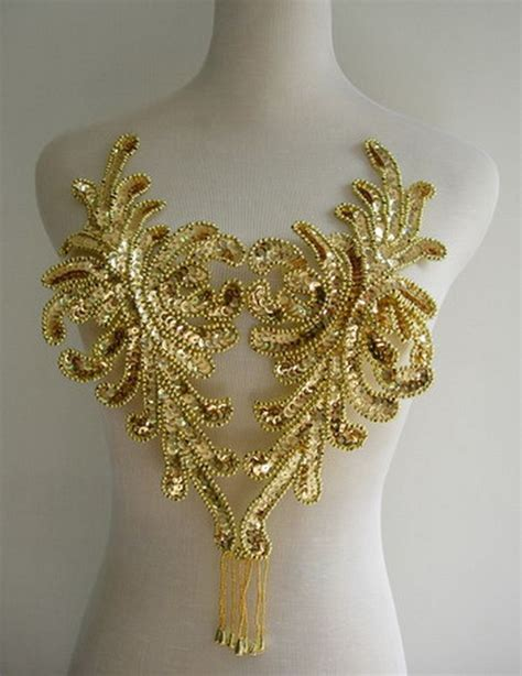 gold applique bd42 fringed bodice sequin bead applique gold belly