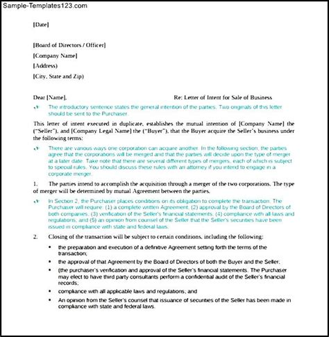 Letter Of Intent Sle Business Letter Of Intent For Purchase Of Business Free Pdf Sle Templates