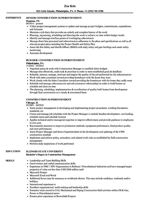 Resume Template For Construction Supervisor by Resume Template Construction Supervisor Image Collections