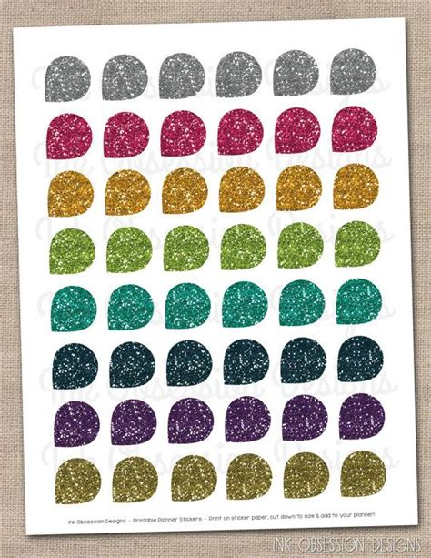printable glitter stickers digital glitter planner stickers teardrop shapes instant