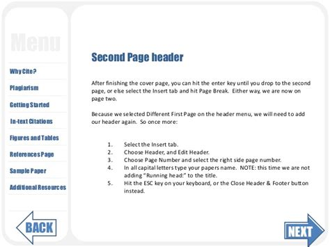 how to format header on second page of resume apa guide 3