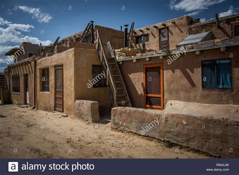 Adobe Pueblo Houses by Adobe Houses Sky City Acoma Pueblo New Mexico Stock