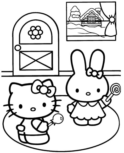 hello kitty soccer coloring pages hello kitty and cathy coloring page to print or download