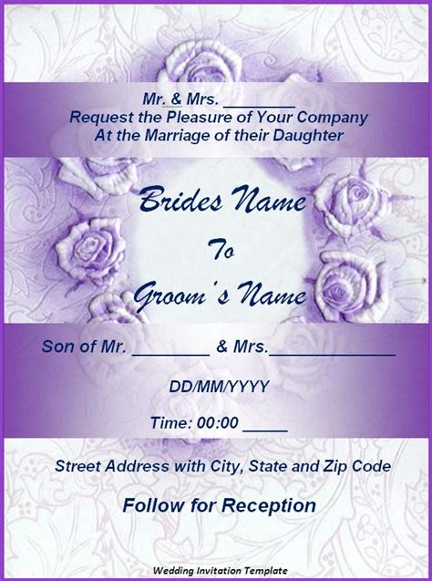 templates of wedding invitations wedding invitation format free word s templates