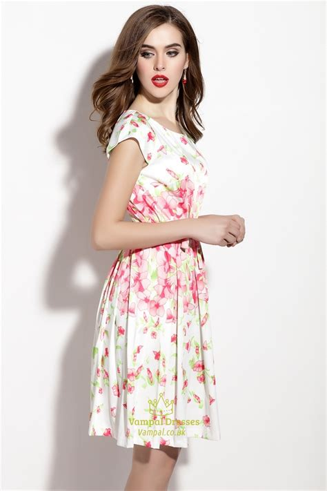 floral print cap sleeve summer dress with bow belt